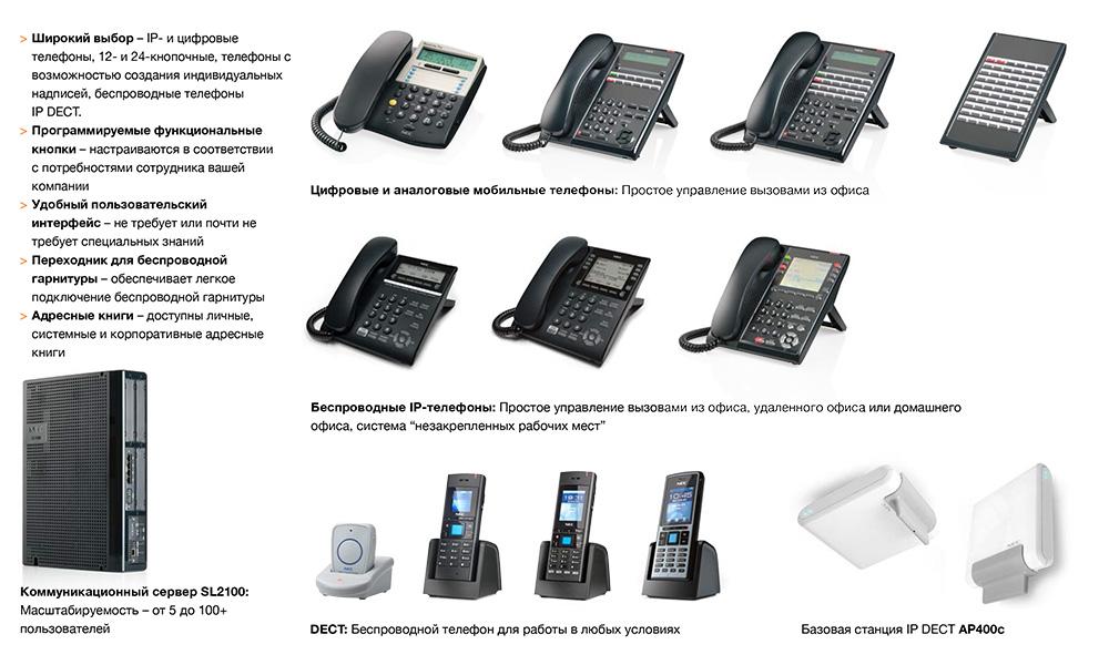 Телефоны дляАТСNEC SL2100